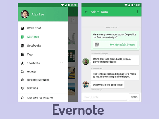 Material design Evernote